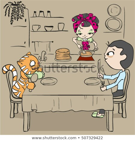 Woman bakes pancakes. Cat and man waiting for dinner Stock photo © orensila