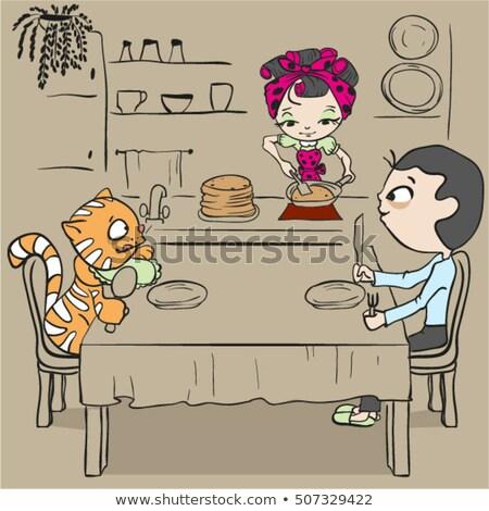 familia · cena · listo · casa · alimentos · ninos - foto stock © orensila