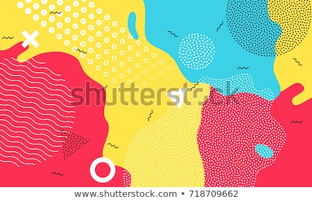 yellow and red memphis style background with geometric shapes Stock photo © SArts