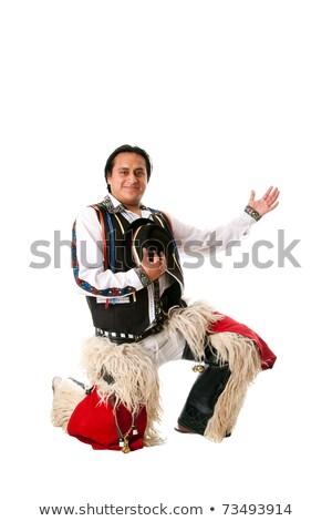 Boldog férfi becsület dél-amerika folklór ruházat Stock fotó © phakimata
