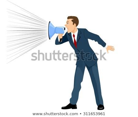 üzletember kiált hangfal jóképű érett fehér Stock fotó © LightFieldStudios