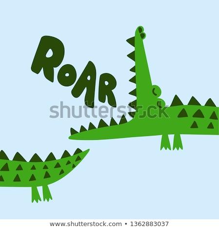 Cute cocodrilo cara feliz ilustración arte tropicales Foto stock © bluering