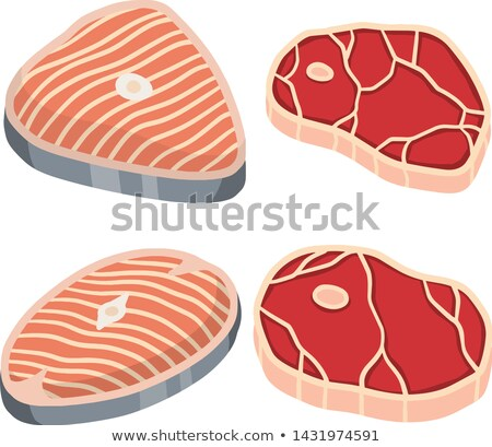 Meat vector - marble beef icon. Fresh meat icon. Stock photo © MarySan