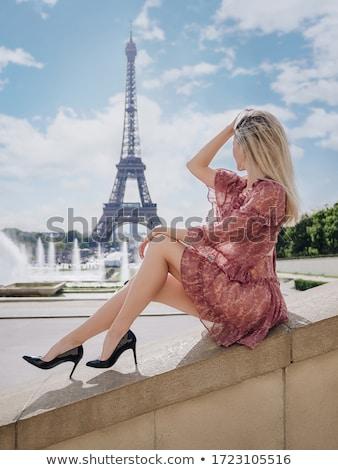 Eiffel-torony kék nyár égbolt Párizs Franciaország Stock fotó © tuulijumala
