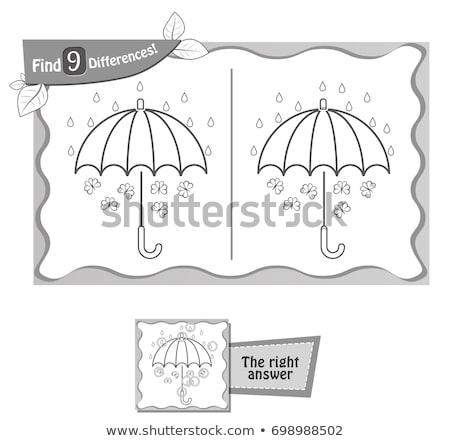 Encontrar diferenças jogo preto guarda-chuva crianças Foto stock © Olena