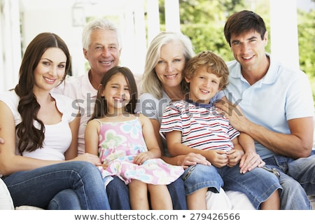 Group portrait of a family on the porch Stock photo © IS2
