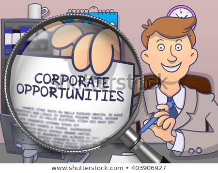 Corporate Opportunities through Magnifier. Doodle Style. Stock photo © tashatuvango