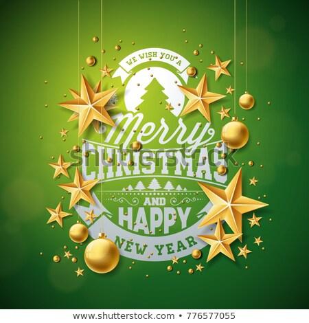 ベクトル · 陽気な · クリスマス · 実例 · 金 · ガラス - ストックフォト © articular