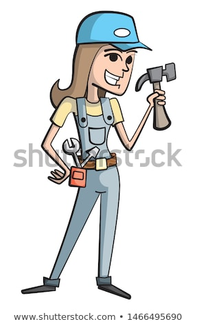 Cartoon Homme électricien tournevis bricoleur Photo stock © Krisdog