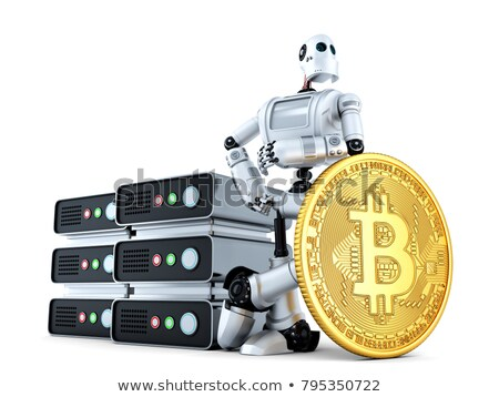 robot with mining farm and gold bitcoin coin 3d illustration i stock photo © kirill_m