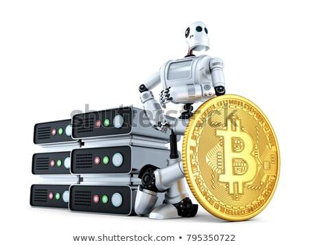 Robot wydobycie gospodarstwa złota bitcoin monety Zdjęcia stock © Kirill_M