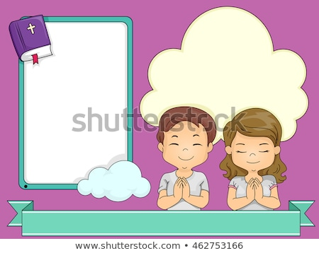 çocuklar dua eden şerit kareler çerçeve örnek Stok fotoğraf © lenm