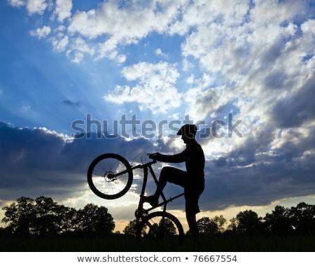Mountain biker cycling silhouette over blue sky Stock photo © blasbike
