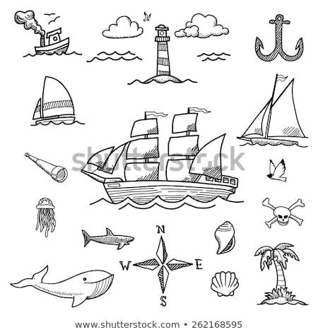 veleiro · rabisco · ícone · barco - foto stock © keeweeboy