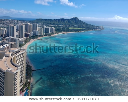 panoráma · Waikiki · Honolulu · Hawaii · sziluett · park - stock fotó © dirkr
