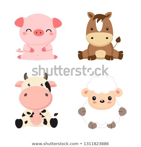Stockfoto: Paarden · koeien · blij · gezicht · illustratie · glimlach · gelukkig