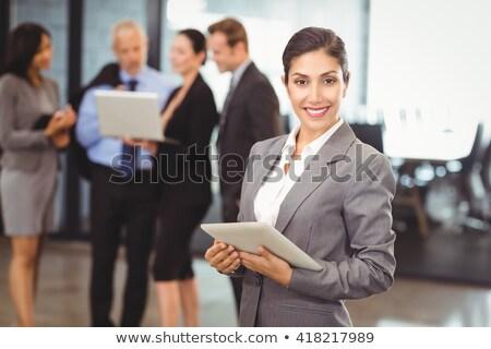 jovem · criador · mulher · comprimido · escritório · feliz - foto stock © wavebreak_media