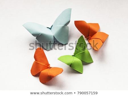 Arancione farfalla origami isolato bianco carta Foto d'archivio © brulove