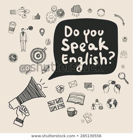 Nauczyć angielski głośnik wiadomość podpisania ilustracja Zdjęcia stock © alexmillos