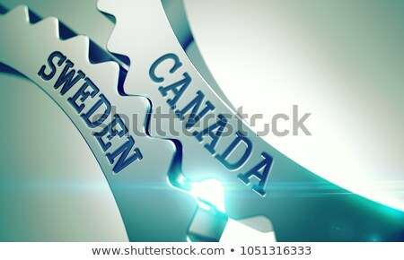 Canada Sweden - Mechanism of Metallic Gears. 3D. Stock photo © tashatuvango