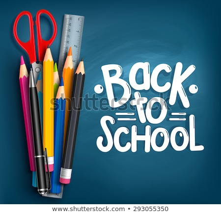 Back to school title words with realistic school items with colored pencils, pen and ruler in a blue Stock photo © ikopylov