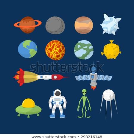 space set of icons vector illustrator cartoon heroes alien stock photo © popaukropa