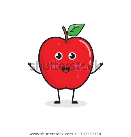 rohadt · piros · alma · gyümölcs · levél · rajz · rajz - stock fotó © krisdog