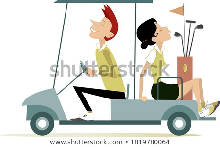 Young pretty woman is going to play golf isolated illustration Stock photo © tiKkraf69