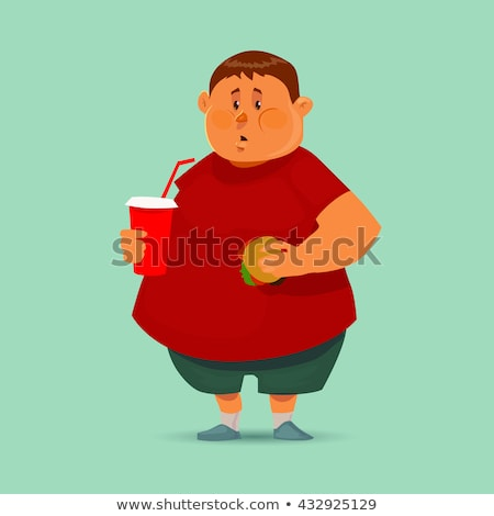 жира парень гамбургер ожирение человека Burger Сток-фото © popaukropa