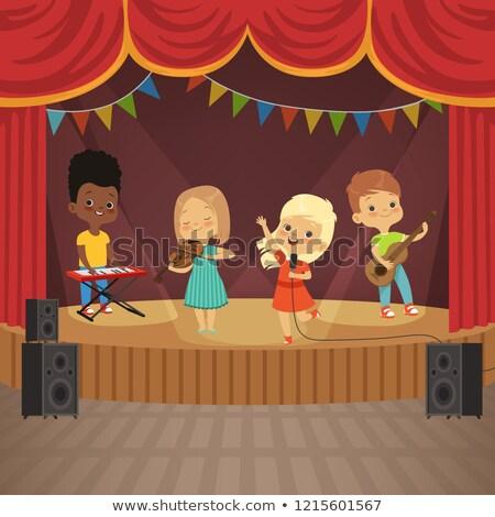 Photo stock: Groupe · enfants · performances · stade · illustration · musique