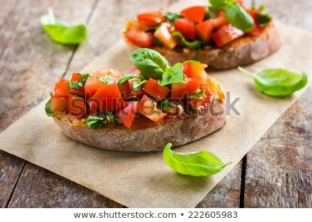 брускетта томатный базилик продовольствие фон хлеб Сток-фото © M-studio