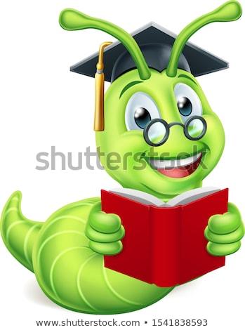 книжный · червь · образование · зеленый · Cartoon · Caterpillar · червя - Сток-фото © krisdog