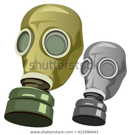 gaz · maskesi · şablon · yalıtılmış · beyaz · vektör · yüz - stok fotoğraf © popaukropa
