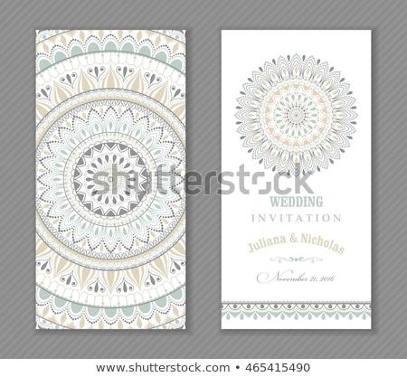 Gri mandala dekorasyon soyut sanat kart Stok fotoğraf © SArts