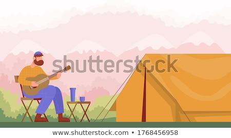 Hombre tienda campamento cabina forestales verano Foto stock © popaukropa