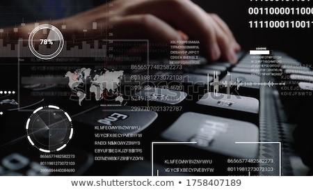 Laptop számítógép bitcoin hologram pénzügy üzlet jövő Stock fotó © dolgachov