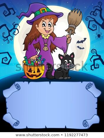 bruxa · cabo · de · vassoura · ilustração · menina · traje · equitação - foto stock © clairev