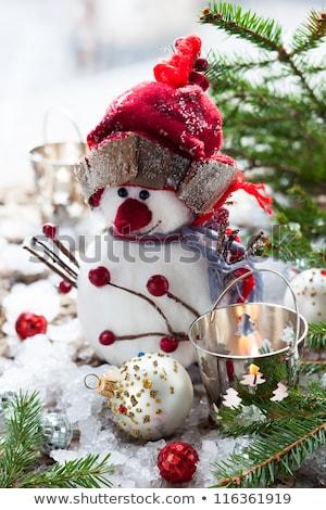 karácsony · hóember · játék · gyertyák · fenyőfa · ág - stock fotó © karandaev