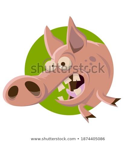Сток-фото: Crazy · уродливые · свинья · Cartoon · иллюстрация · глядя