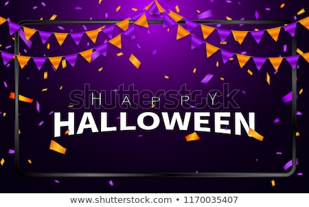 happy halloween carnival background orange purple flags garland confetti concept for party design stock photo © olehsvetiukha
