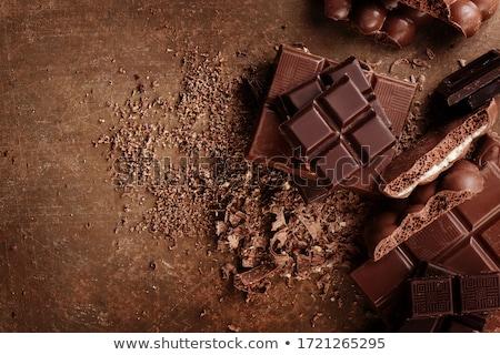 Csokoládé szelet asztal magasról fotózva kilátás fából készült vágódeszka Stock fotó © nito