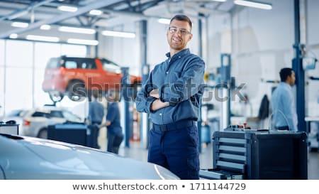 Mecânico oficina azul ferramentas trabalhando trabalhador Foto stock © Minervastock