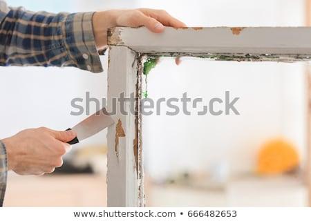 Old putty knife at grunge window Stock photo © simazoran