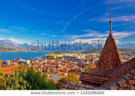 Idyllic Swiss Lake Luzerne waterfront view Stock photo © xbrchx
