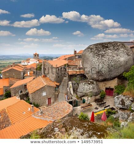 Falu légifelvétel Portugália híres kő házak Stock fotó © joyr