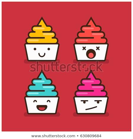 Angry Cartoon Yogurt Cup Stock photo © cthoman