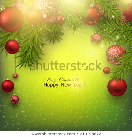 christmas green twigs snowfall red baubles banner stock photo © limbi007