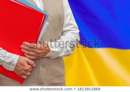 Dobrador bandeira Ucrânia arquivos isolado branco Foto stock © MikhailMishchenko