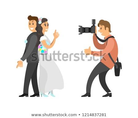 счастливым · пару · свадьба · невеста · жених · фотография - Сток-фото © robuart