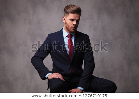 Retrato sentado empresario mirando hacia abajo lado Foto stock © feedough